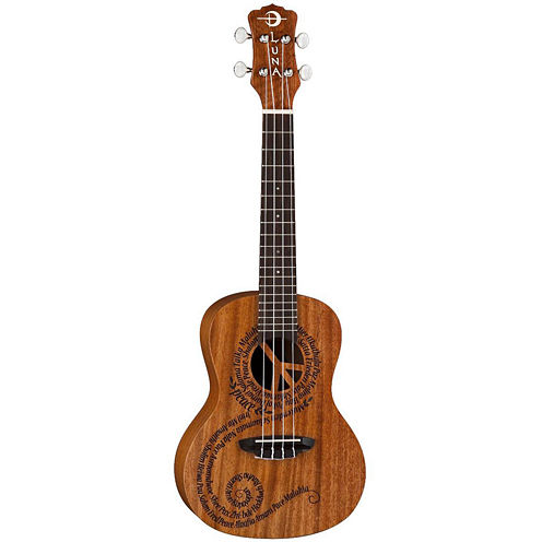 Luna Guitars Maluhia Peace-Etched Mahogany Acoustic Ukulele with Gig Bag