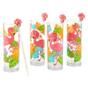 Outdoor Oasis™ Flamingo 8-pc. Glasses and Stirrers Set