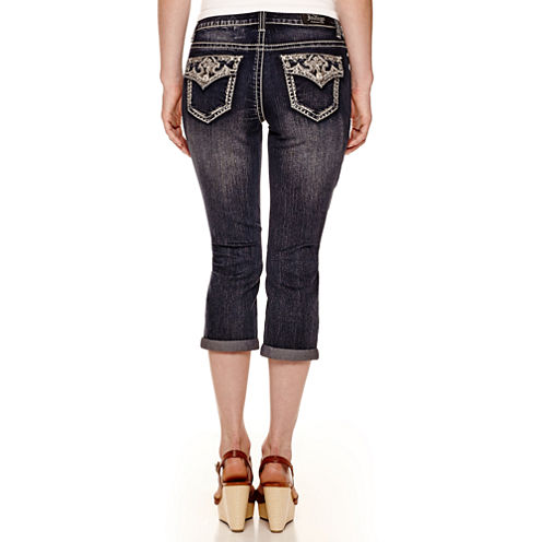 Love Indigo Embellished Back Flap-Pocket Cropped Capris