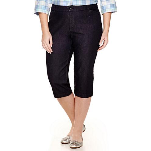 "St. John's Bay® Secretly Slender Twill Cropped Pants-Plus (19"")"