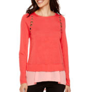 Worthington® Long-Sleeve Grommet Layered Sweater