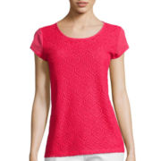 Liz Claiborne® Short-Sleeve Lace Front Top - Tall