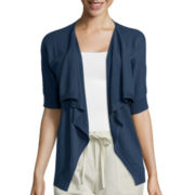 Liz Claiborne® Short-Sleeve Open Slub Cardigan - Tall