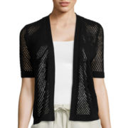 Liz Claiborne® Short-Sleeve Open Tuck-Stitch Cardigan Sweater