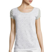 Liz Claiborne® Short-Sleeve Lace T-Shirt