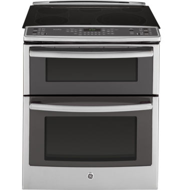 "jcpenney.com | GE Profile™ 30"" 6.6 Cu. Ft. Slide-In Double Oven Electric Range with Convection"