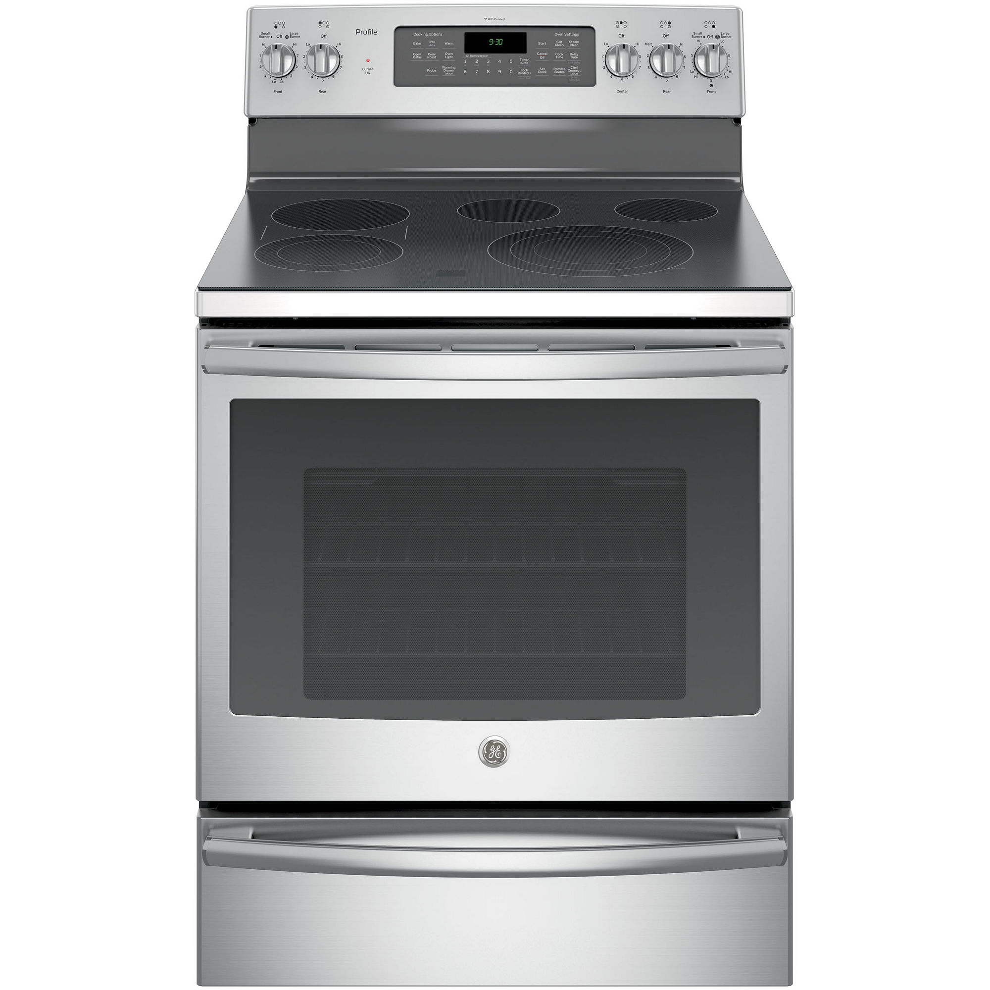 """GE Profile 30"""" 5.3 Cu. Ft. Electric Range with Convection Oven and Warming Drawer - PB930SJSS"""