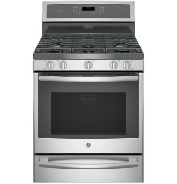 "jcpenney.com | GE Profile™  30"" 5.6 Cu. Ft. Dual-Fuel Range with Convection Oven  and  Warming Drawer"