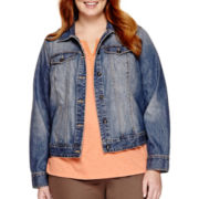 St. John's Bay® Long-Sleeve Denim Jacket - Plus