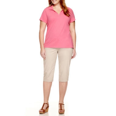 jcpenney.com | St. John's Bay® Polo Shirt And Secretly Slender Twill Crop Pants - Plus