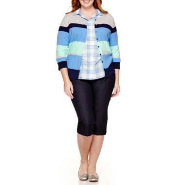 jcpenney.com | St. John's Bay® Cardigan, Camp Shirt or Secretly Slender Twill Cropped Pants - Plus