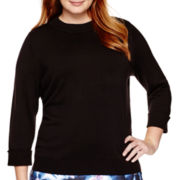 Liz Claiborne® 3/4-Sleeve Mock-Neck Pullover Sweater - Plus