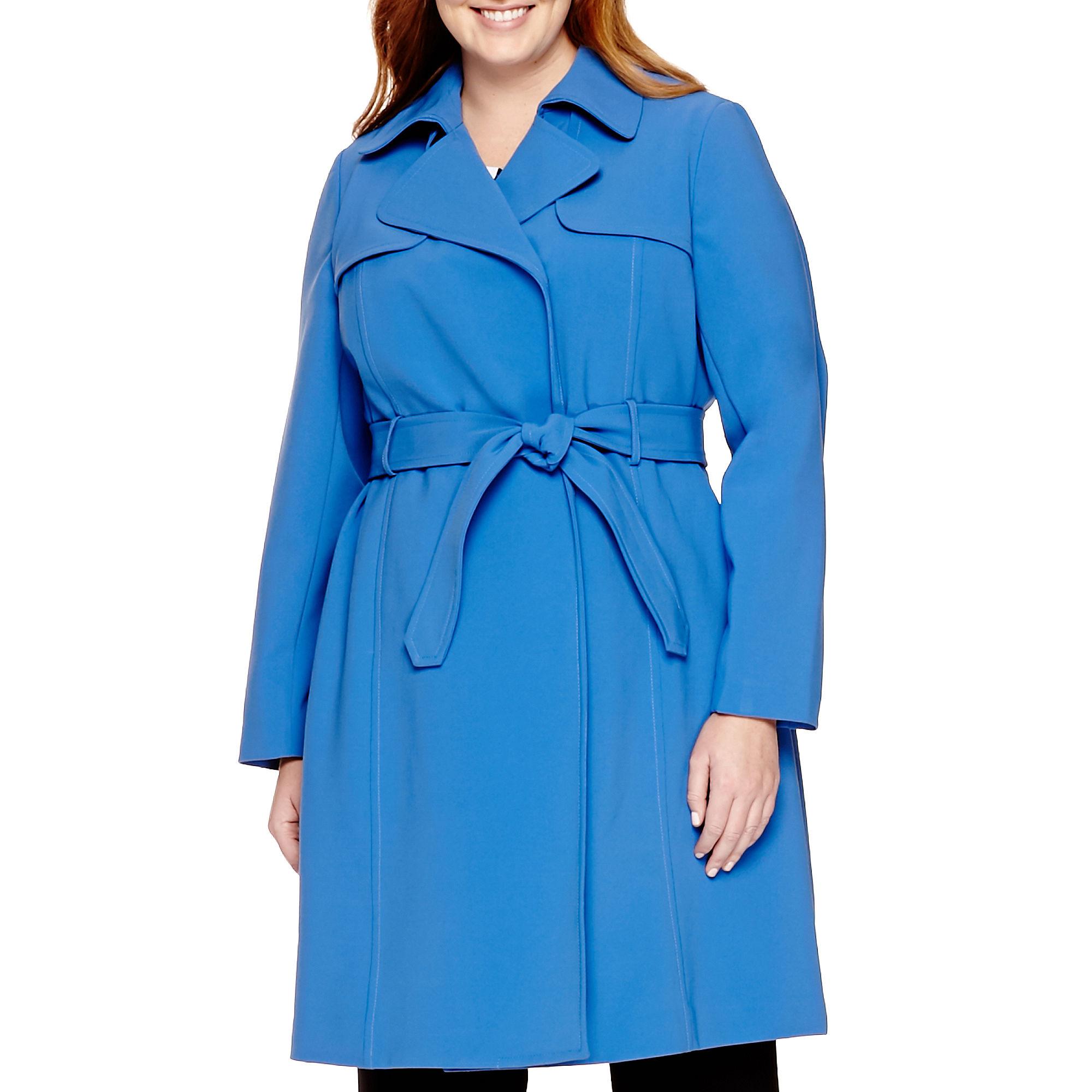 Liz Claiborne Belted Trench Coat - Plus