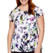 Liz Claiborne® Flutter-Sleeve Blouse - Plus