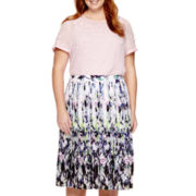 Liz Claiborne® Short-Sleeve 3D Blouse or Pleated Woven Skirt - Plus