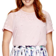 Liz Claiborne® Short-Sleeve 3D Blouse - Plus