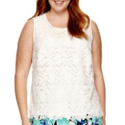 Liz Claiborne® Lace Overlay Tank Top - Plus