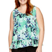 Liz Claiborne® Sleeveless Layered Blouse - Plus