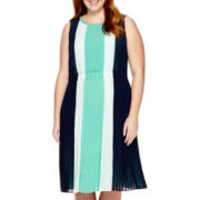 Liz Claiborne® Sleeveless Colorblocked Dress - Plus