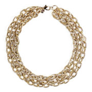 Bold Elements Textured Three-Row Link Necklace