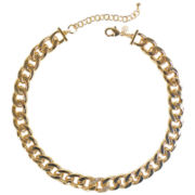 Bold Elements Gold-Tone and Crystal Link Necklace
