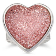 Liz Claiborne Pink Glitter Heart Stretch Ring