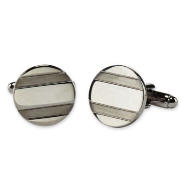 jcpenney.com | Striped Gunmetal-Tone Circle Cuff Links