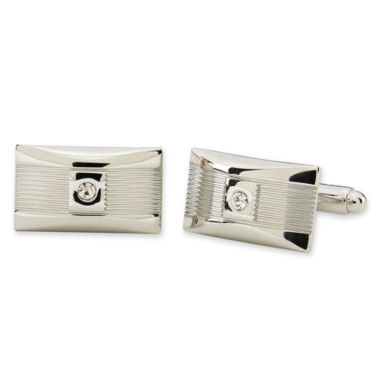 jcpenney.com | Polished Rhodium-Tone Cuff Links w/Crystal Accent