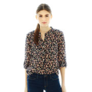 Joe Fresh™ 3/4-Sleeve Roll-Tab High-Low Print Blouse