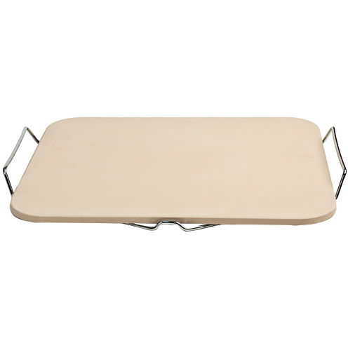 Charcoal Companion® Rectangular Pizza Stone with Wire Frame