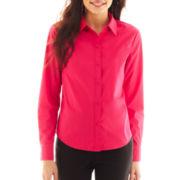 Liz Claiborne Long-Sleeve Button-Front Woven Shirt - Petite