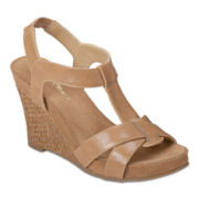 A2 by Aerosoles® Photo Plush T-Strap Wedge Sandals