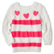 Arizona Mixed-Stitch Heart Sweater - Girls 6-16 and Plus