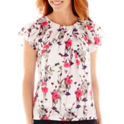 Liz Claiborne® Short-Sleeve Floral Blouse with Cami