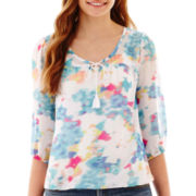 Arizona 3/4-Sleeve Floral Print Peasant Top