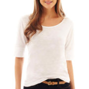 jcp™ Elbow-Sleeve Knit Tee - Petite