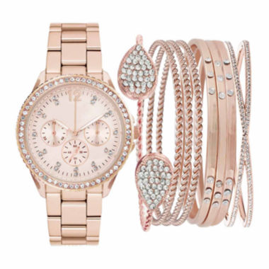 jcpenney.com | Womens Rose Gold-Tone Crystal-Accent Watch Box Set