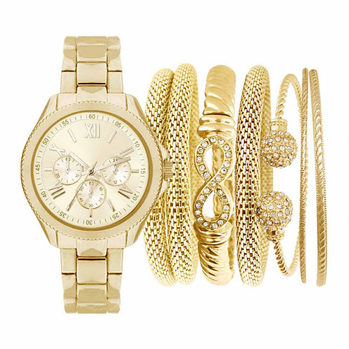 Womens Gold-Tone Watch Box Set