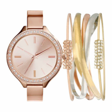 jcpenney.com | Rose-Tone Metal Womens Watch Box Set