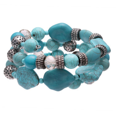 jcpenney.com | Mixit Womens  Turquoise Triple Row Beaded Bracelet