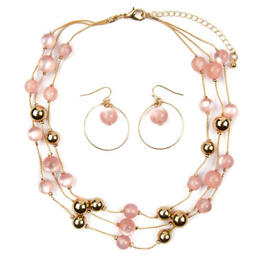 jcpenney.com | Mixit Womens Pink Beaded 3 Row Illusion Jewelry Set