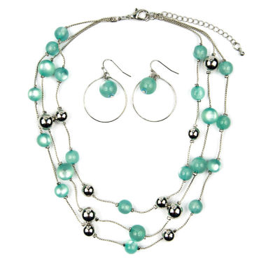 jcpenney.com | Mixit Womens  Green Beaded 3 Row Illusion Jewelry Set