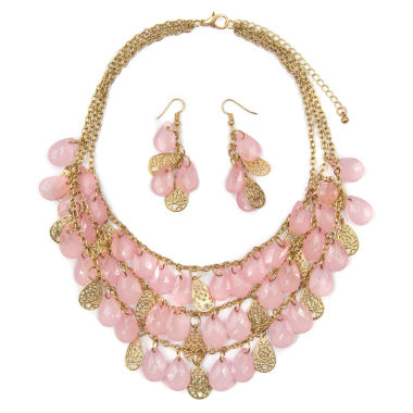 jcpenney.com | Mixit Womens  Pink Teardrop Filigree Illusion Set