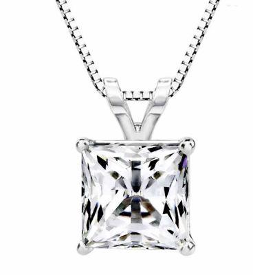 Fine Jewelry 14K Gold Pendant Necklace featuring Swarovski Zirconia UUaa8