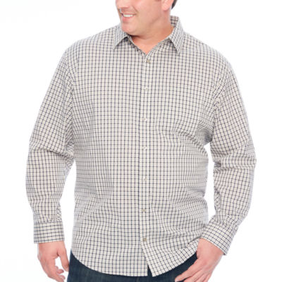 bb6c3ab95c654 Van Heusen Traveler Stretch Non Iorn Mens Long Sleeve Checked Button-Front Shirt  Big and