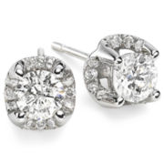 True Love, Celebrate Romance® 1 CT. T.W. Diamond Cluster Studs 14K White Gold