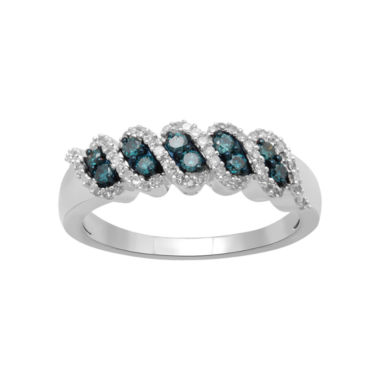 jcpenney.com | 1/3 CT. T.W. White & Color-Enhanced Blue Diamond Band 10K White Gold