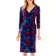 Black Label by Evan-Picone 3/4-Sleeve Print Side-Tie Dress