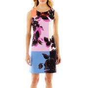 Worthington® Sleeveless Colorblock Floral Print Dress