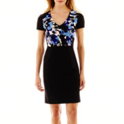 Worthington® Short-Sleeve Print-Bodice Scuba Dress